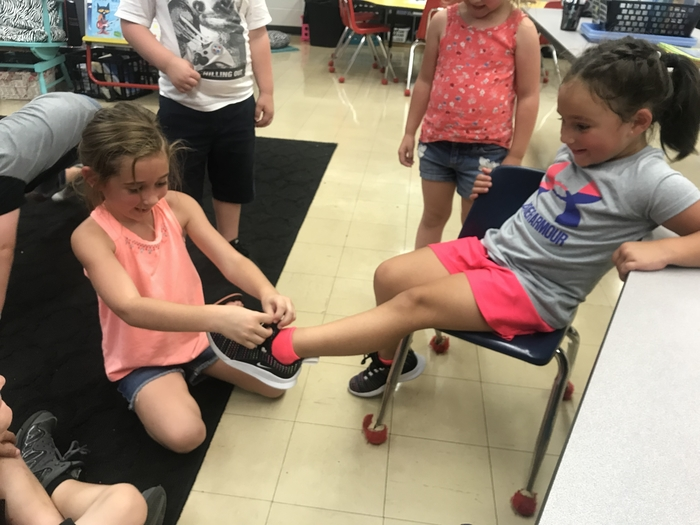 Kindergarten-learning to tie shoes!!