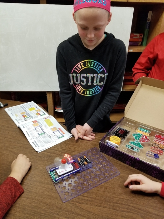 Lainey is teaching about snap circuits.