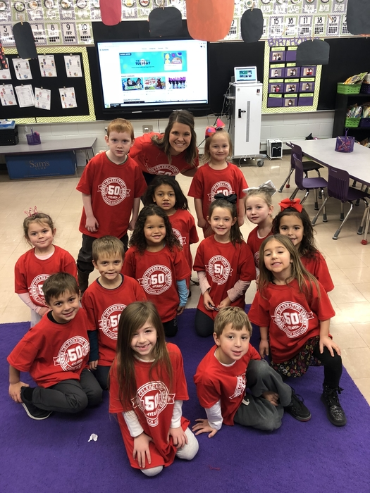 Mrs. Learnard's class celebrating 50 years of Giacoma!!