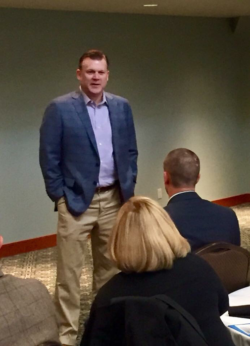 Brad Underwood speaking to the room