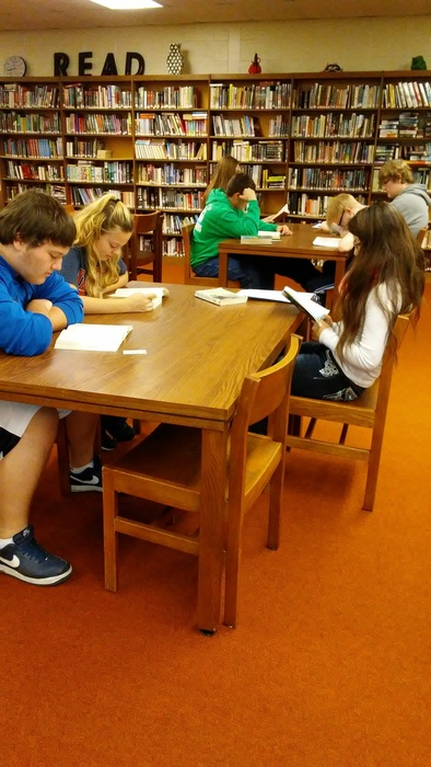 Students reading in the WHS Media Center.