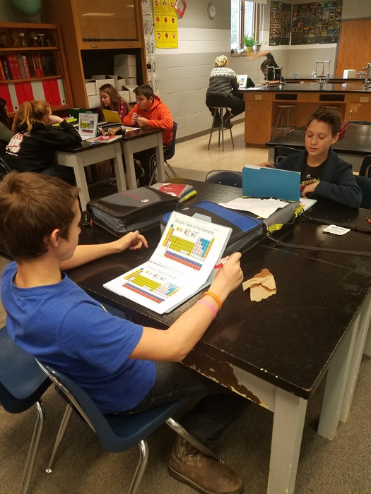 Students practice identifying elements based on atomic number and mass.